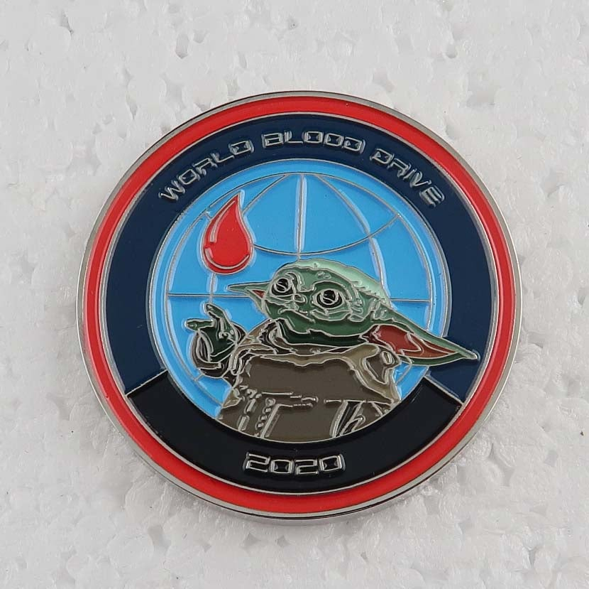 "Image of World Blood Drive 2020 The Child ""Baby Yoda"" Challenge Coin 1.5"""
