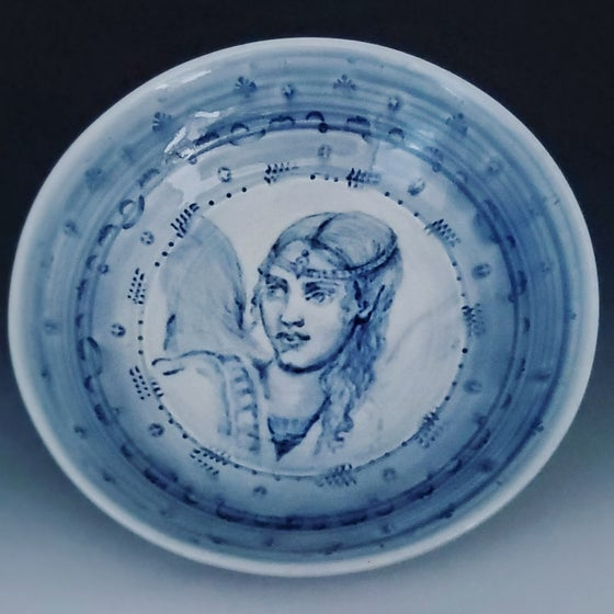Image of Cobalt Flower Angel Porcelain Bowl