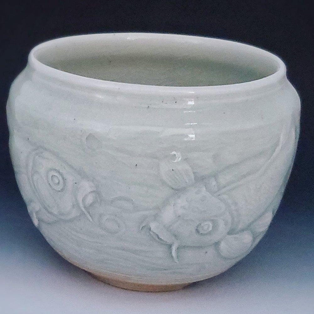 Image of Woodfired Carved Koi Stoneware Vessel