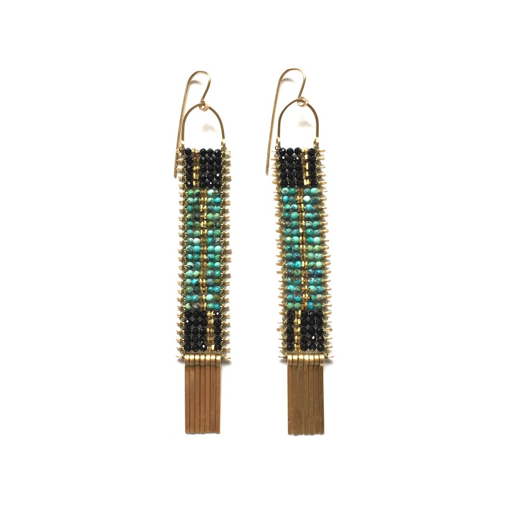 Image of Deco Patterned Turquoise and Black Spinel Earrings