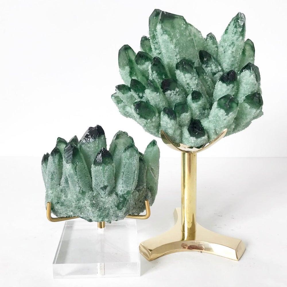 Image of Green Phantom Quartz Crystal Cluster no.04 + Lucite and Brass Stand