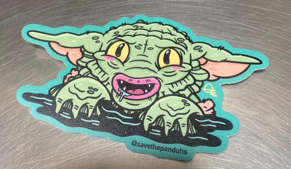 "Image of Baby Yoda Creature 4"" Sticker"