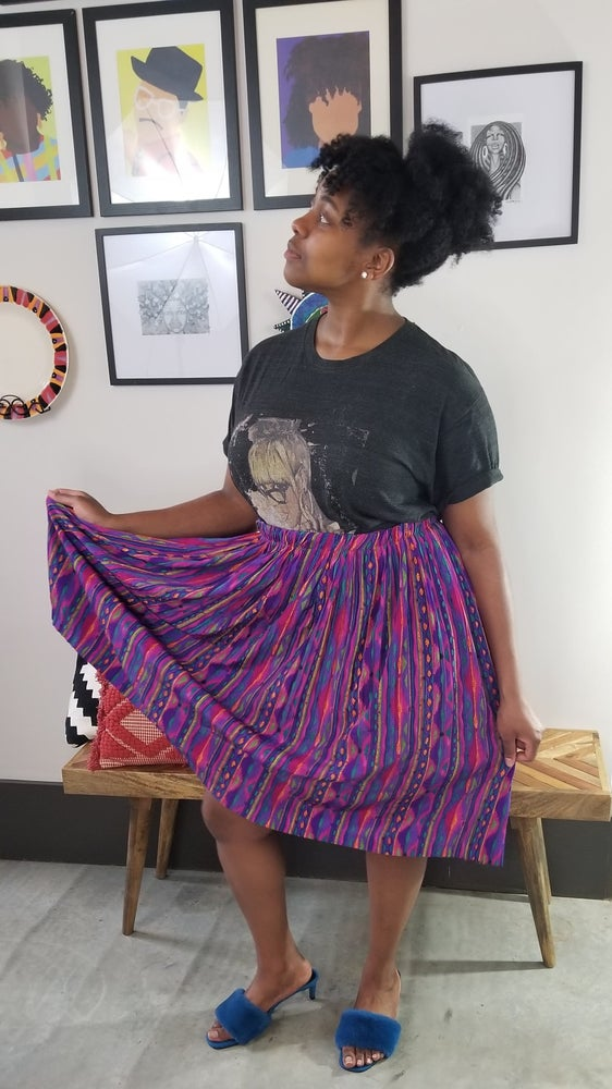 Image of 80's Colorful Tribal Southwestern-esque Pleated Skirt Women's Plus Size up to 3X