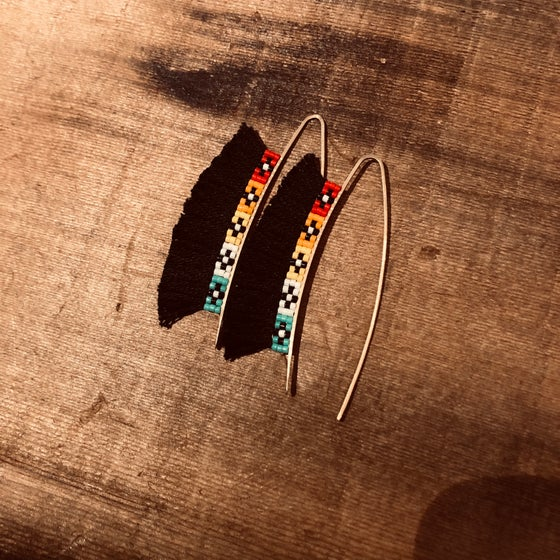 Image of ORIGINS - beads + cotton drop earrings