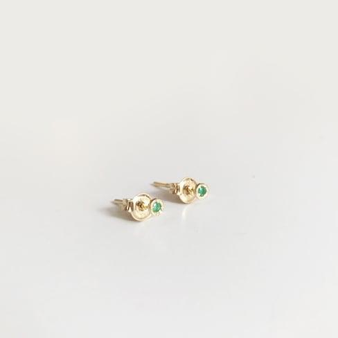 Image of Tiny Emerald Stud Earring (SINGLE)