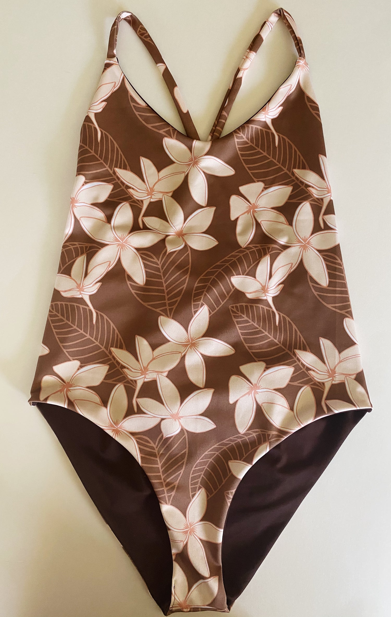 Image of Ready to ship- 90s plumeria brown one piece