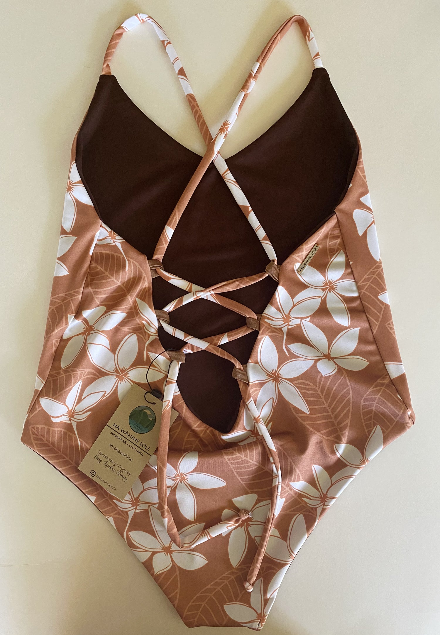 Image of Ready to ship- 90s plumeria light brown one piece