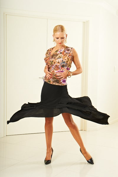 Image of Latin Flamenco Skirt - Black or CHOCOLATE (J1810)
