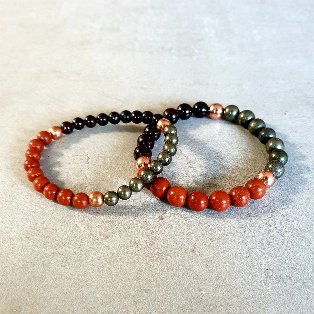 Image of BASE CHAKRA REIKI BRACELET - Red Jasper - Garnet - Pyrite - Copper
