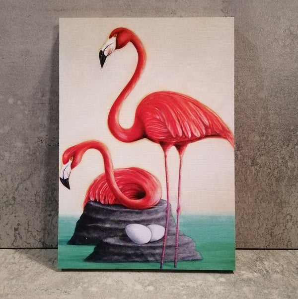 Image of Flamingo Print on plywood
