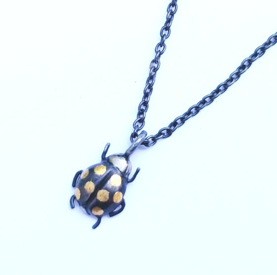 Image of Oxidized Sterling and 24k Gold Ladybug Necklace