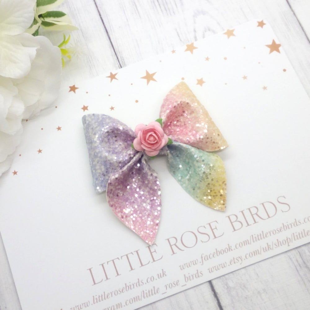 Image of Pastel Rainbow Glitter Pinch Bow - Choice of Headband or Clip