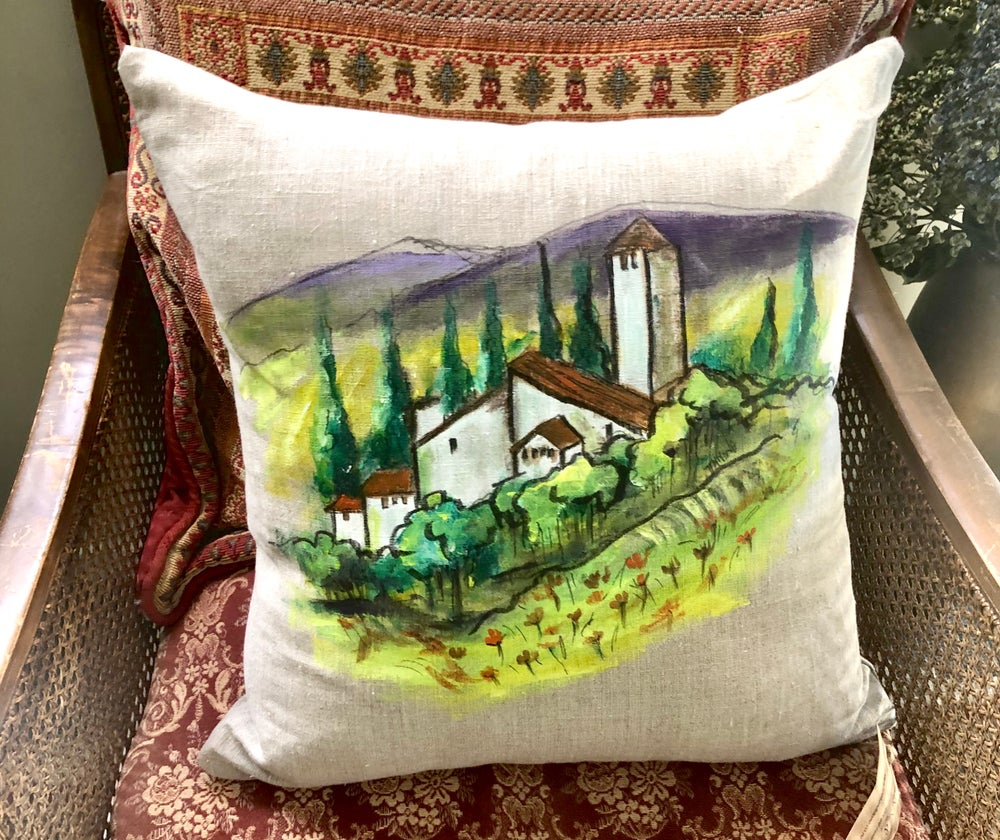 Image of Handpainted Linen Cushion