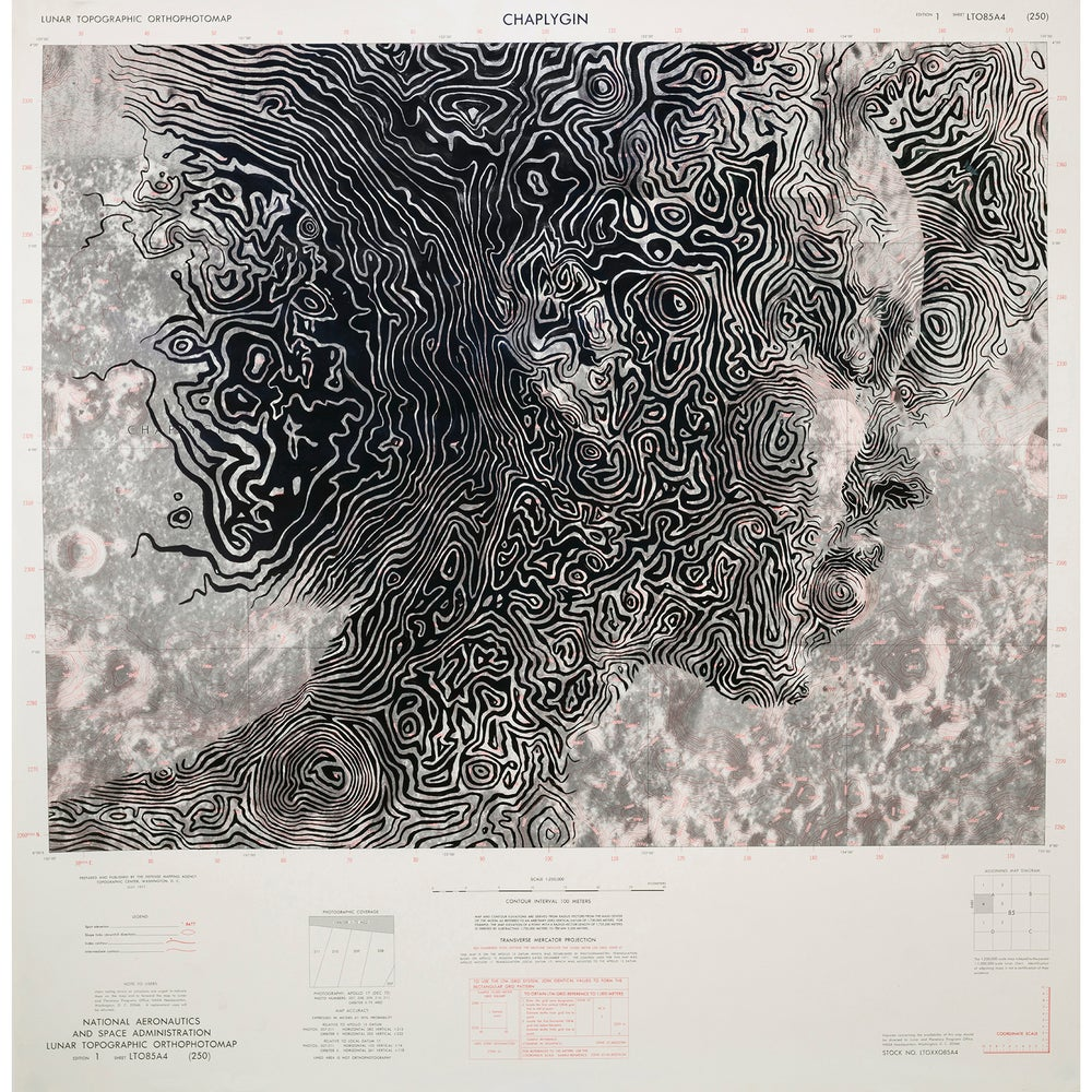 Image of NASA Lunar Map (Chaplygin Crater) Limited Print