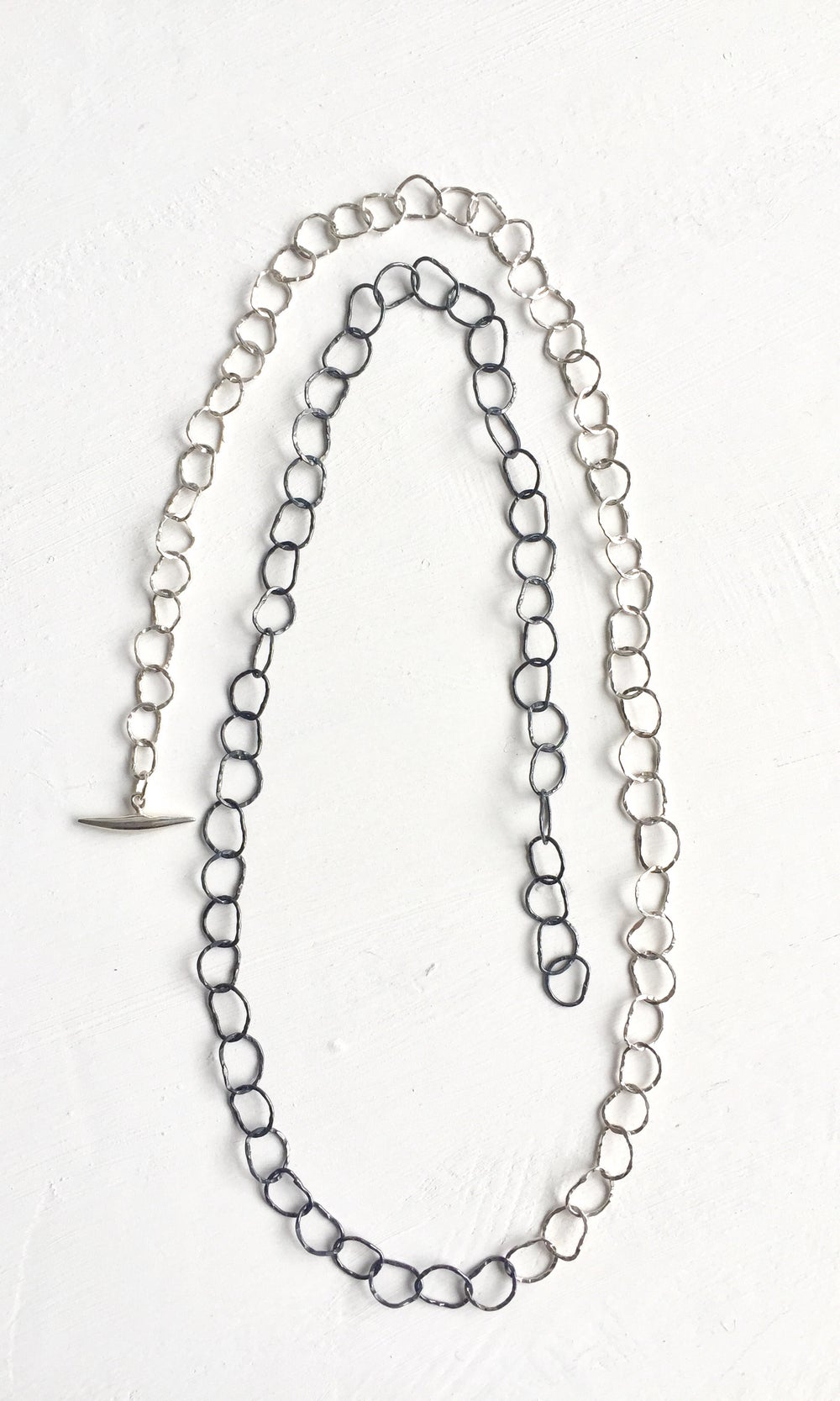 Image of Afiok single length necklace extra long -two toned