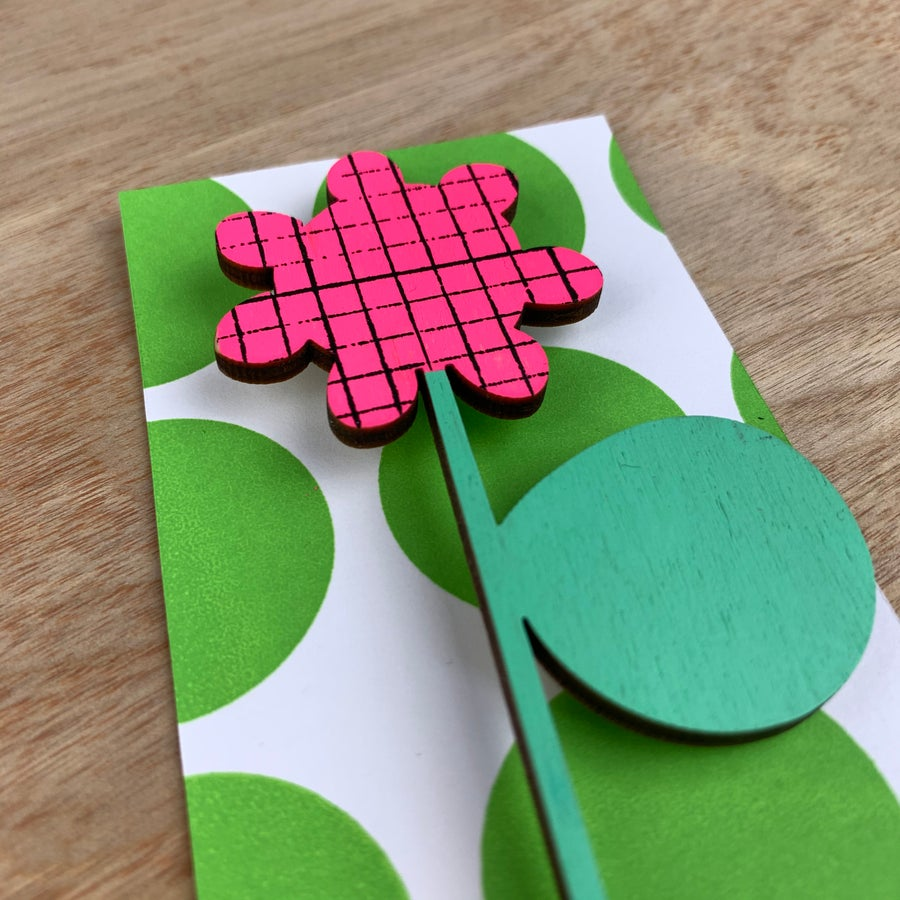 Image of Screen Printed Wooden Flower Brooch with Stand - Neon Pink with Green Leaf