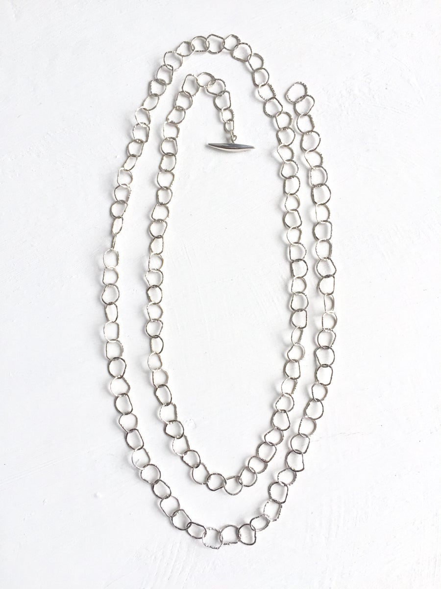 Image of Afiok single length necklace extra long - sterling silver