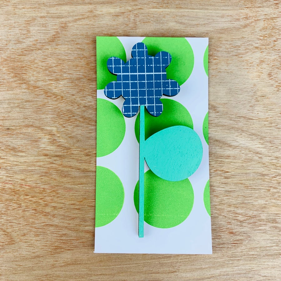 Image of Screen Printed Wooden Flower Brooch with Stand - Blue grid with green leaf