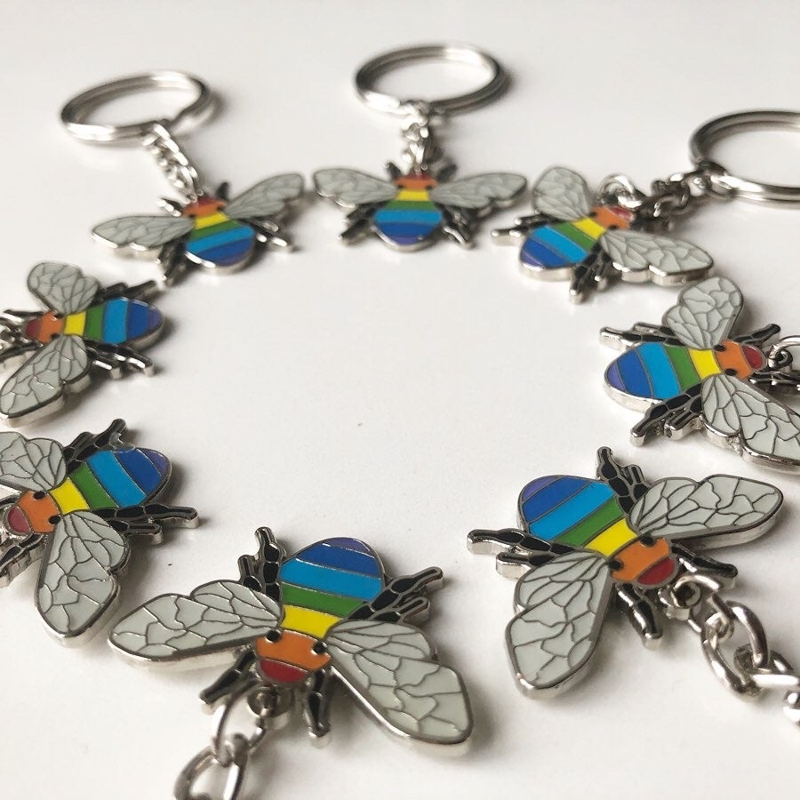 Image of Rainbow Bee Manchester Bee Enamel Keyring