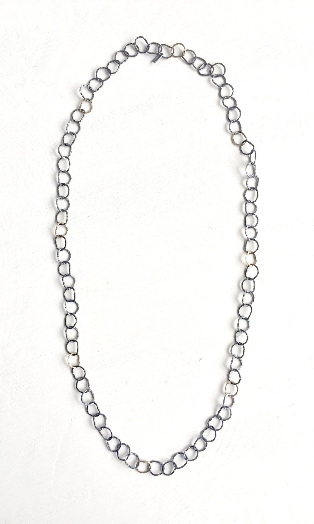 Image of Afiok long necklace no clasp series- oxidised silver & 9ct yellow gold