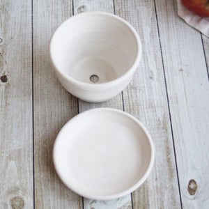 Image of Small Ceramic Succulent Planter with Matching Dish, Handmade White Flower Pot Made in USA