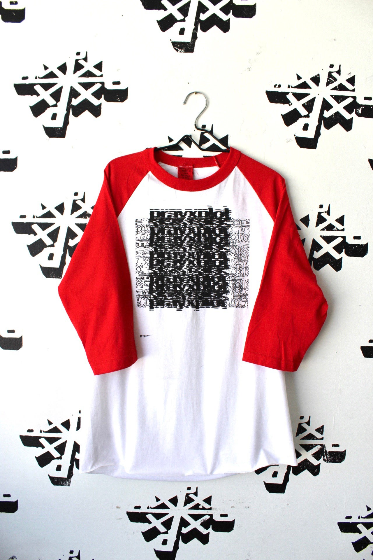 Image of really the right channel raglan in red and white