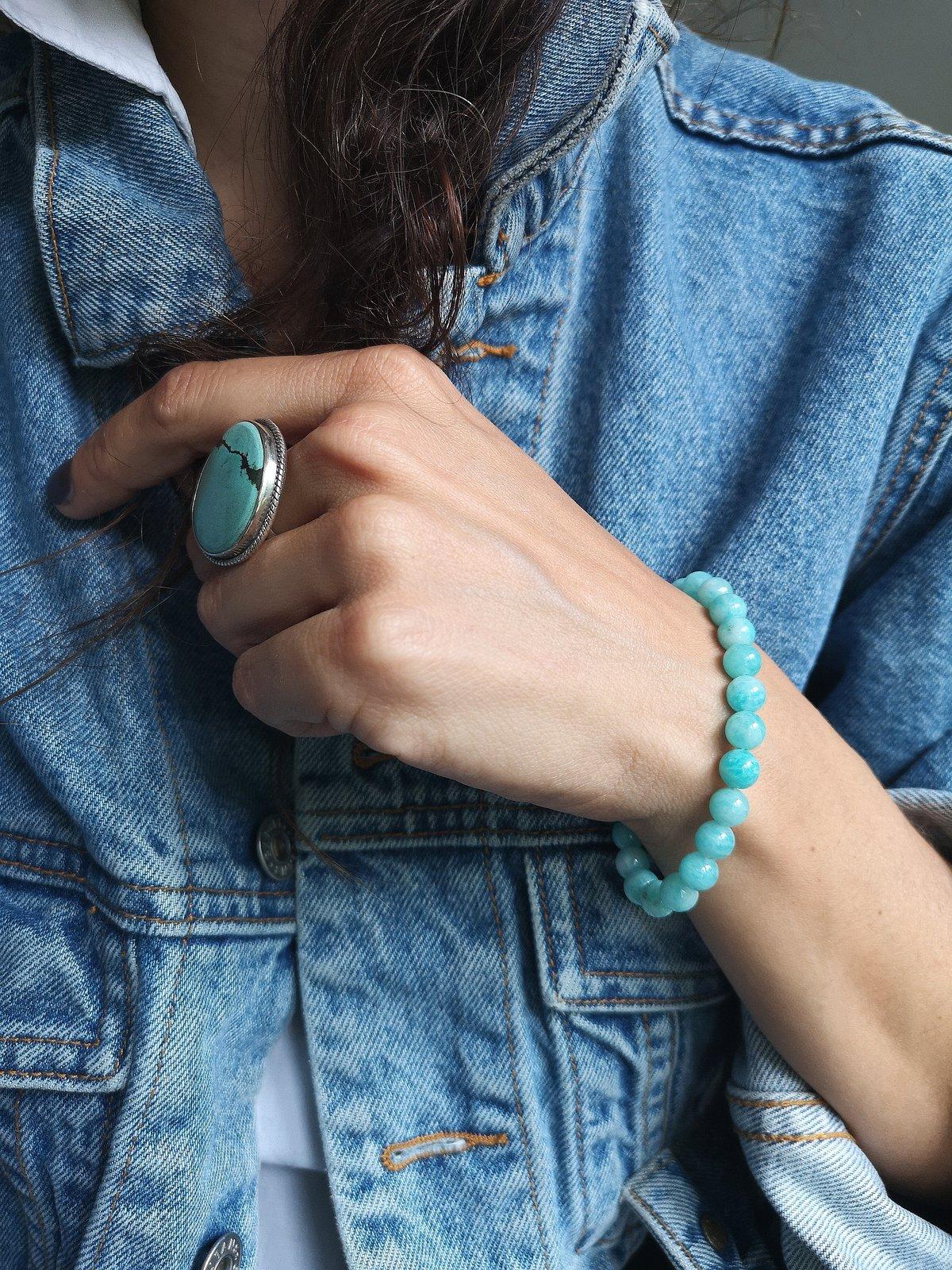 Image of Bracelet en Amazonite - Taille S