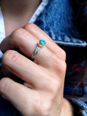 Image of Bague turquoise du Tibet - taille 53 - ref. 5790