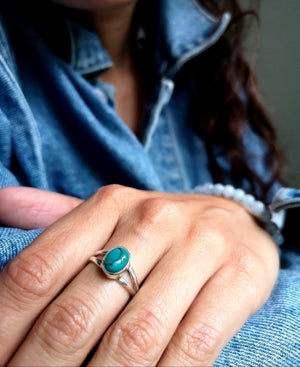 Image of Bague turquoise du Tibet - taille 53,5 - ref. 5613