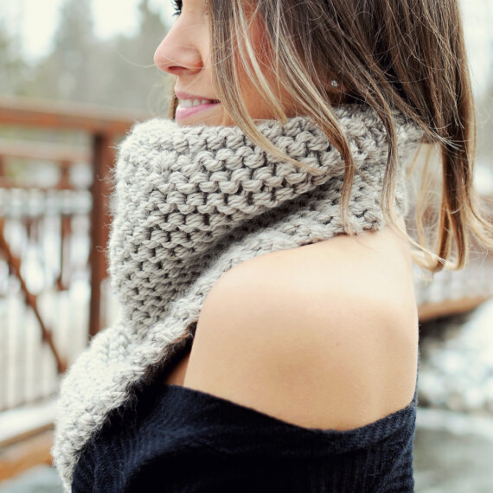 Image of Cozy Up Bandana Cowl Knitting Pattern PDF Download