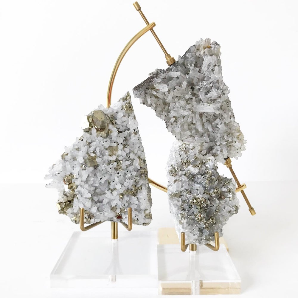 Image of Quartz/Pyrite no.01 + Lucite and Brass Stand