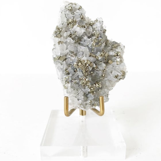 Image of Quartz/Pyrite no.01 + Lucite and Brass Stand