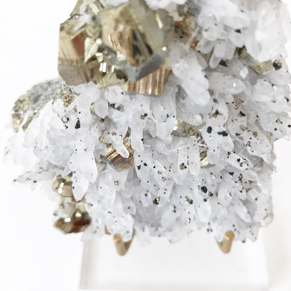 Image of Quartz/Pyrite no.04 + Lucite and Brass Stand
