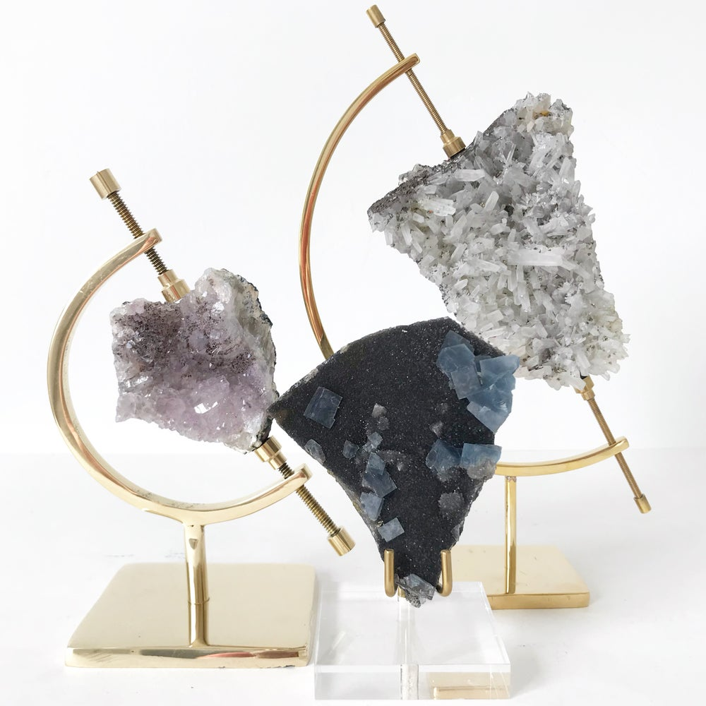 Image of Fluorite no.03 + Lucite and Brass Stand