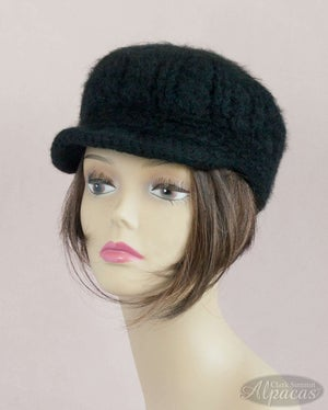 Alpaca Visor Hat in Black/Neutrals  - Wool Blend for Llama Lovers - Crocheted Semi Felted + Cozy