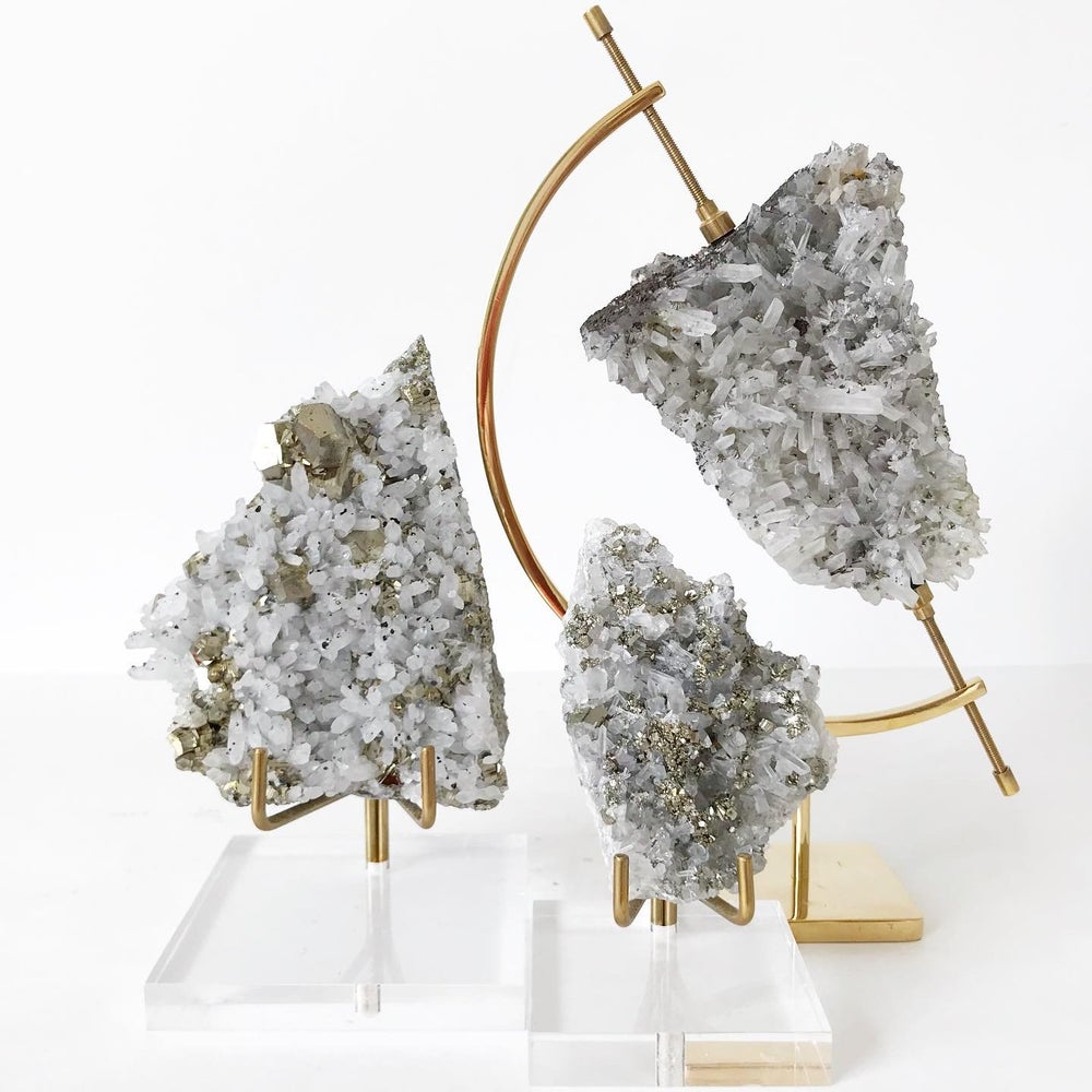 Image of Quartz/Pyrite no.06 + Brass Arc Stand