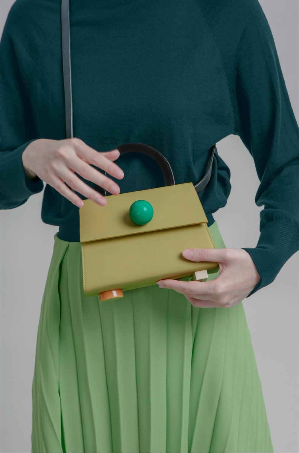 Diva satchel bag • Olive with strap - Limited quantities