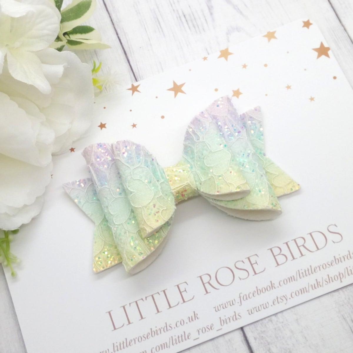 Image of Pastel Glitter Lace Bow - Choice of Headband or Clip