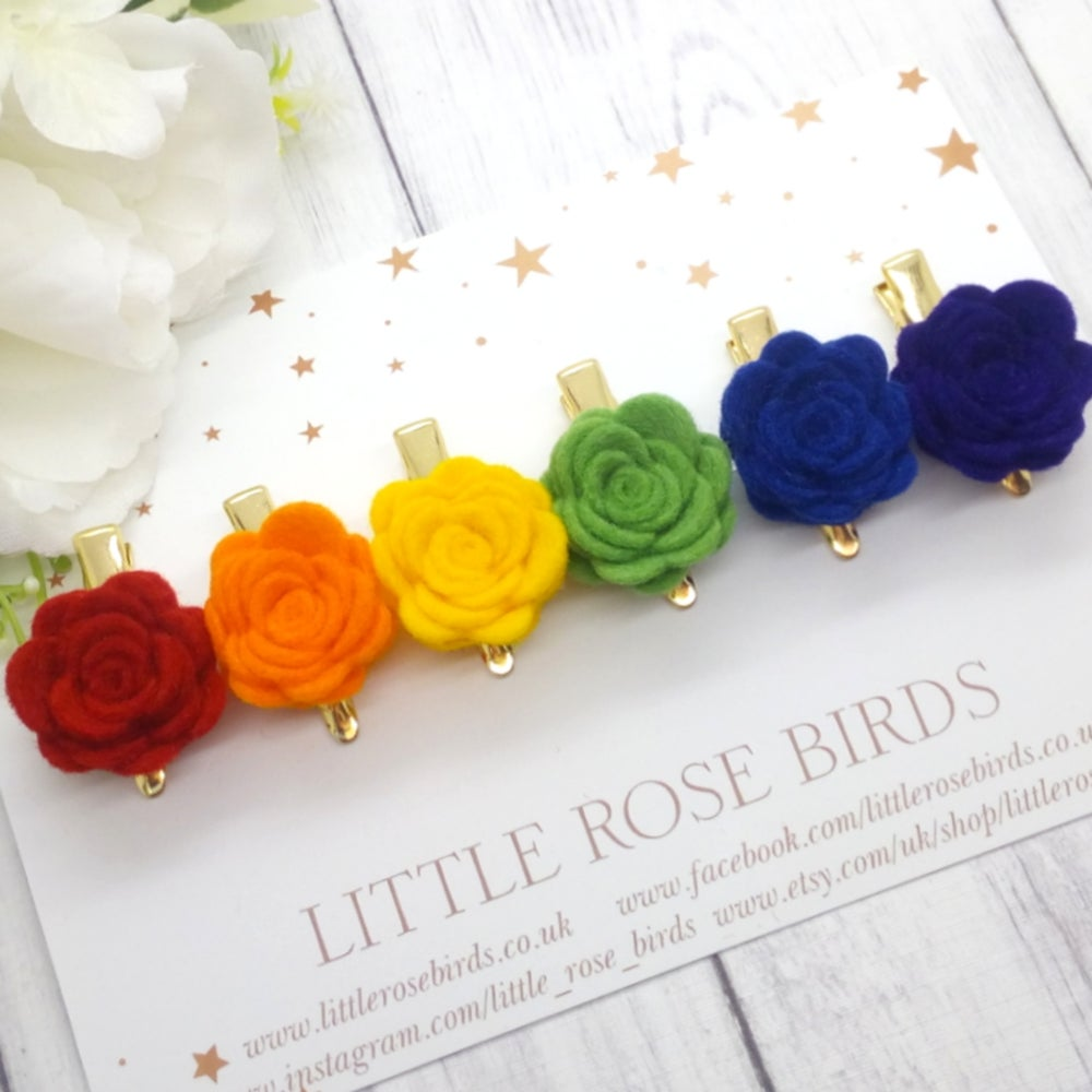 Image of Bright Rainbow Rose Clips - SET OF 6