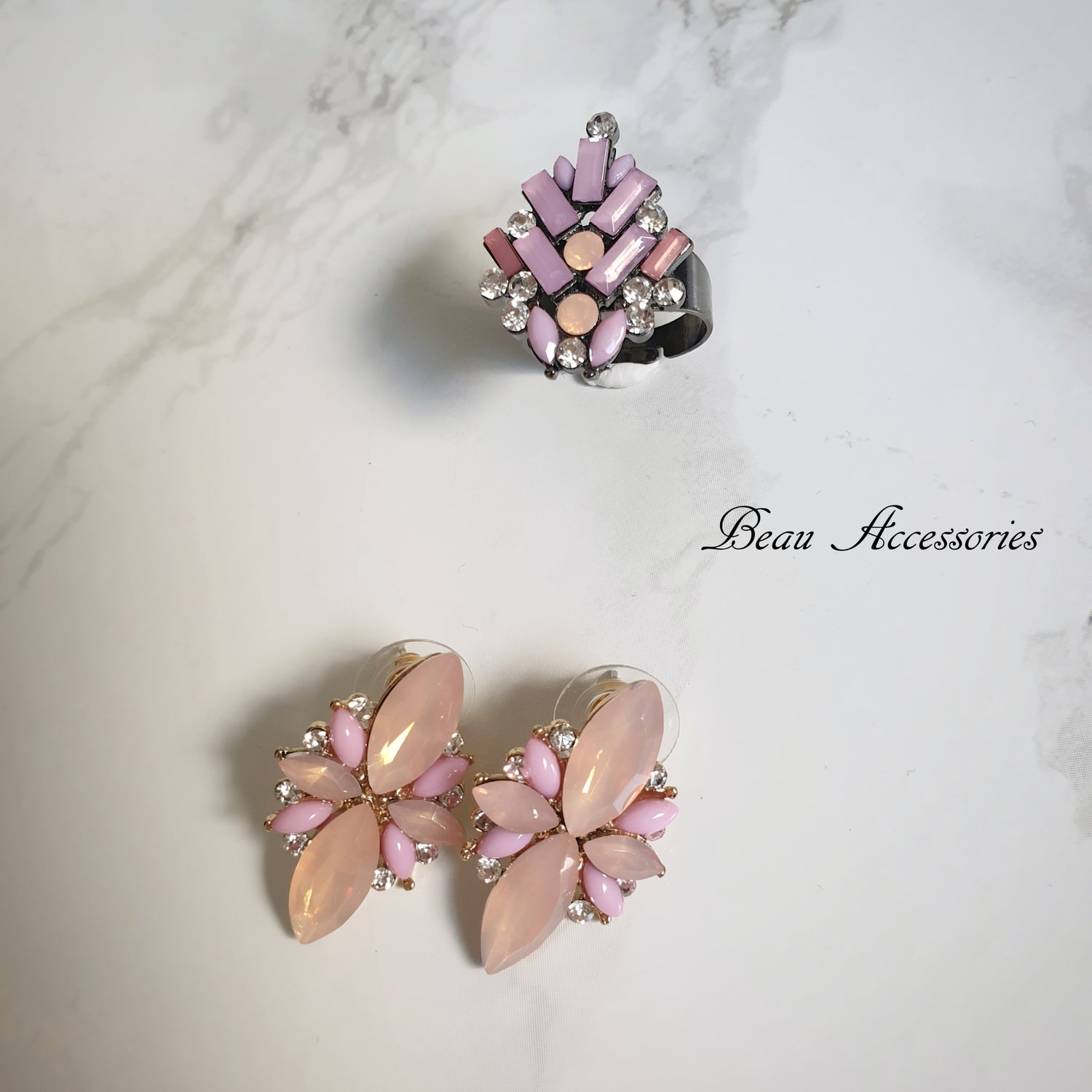 Image of Baby Pink Studs and Ring Set
