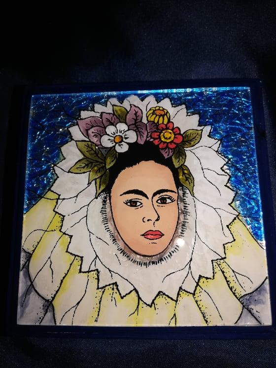 Image of Frida Kahlo reverse painted box