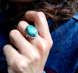 Image of Bague turquoise du Tibet - taille 53 - ref. 4440