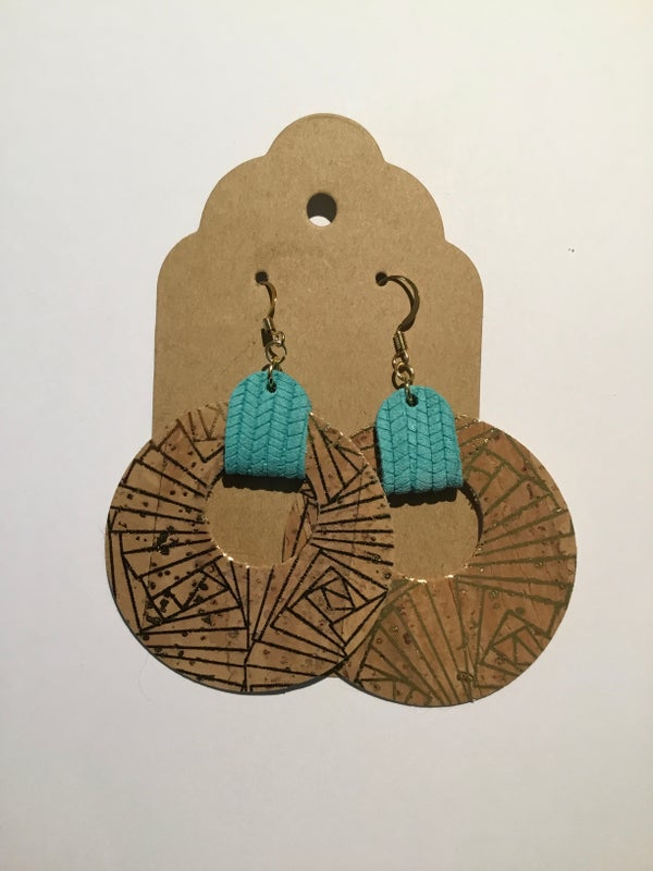 Image of Natural Cork Earrings with Leather Accents