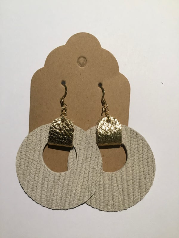 Image of Leather Earrings - Bone Circle Cutouts with Gold Accents