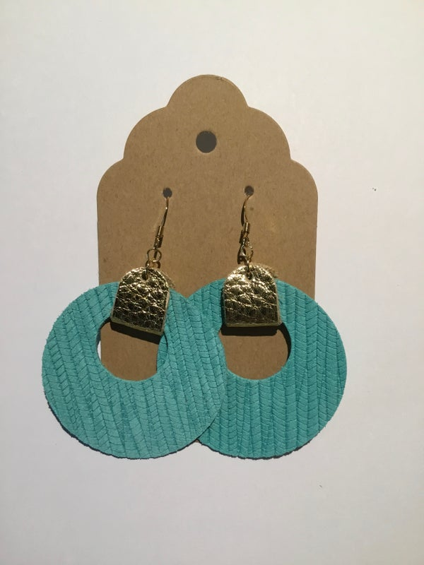 Image of Leather Earrings - Turquoise Circle Cutouts with Gold Accents