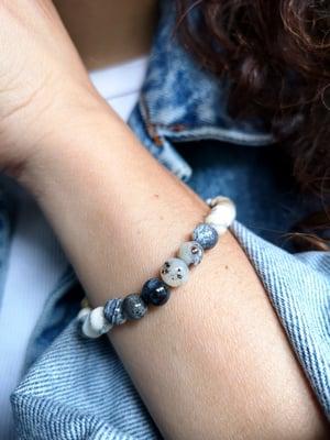 Image of Bracelet élastique merlinite naturelle - taille S