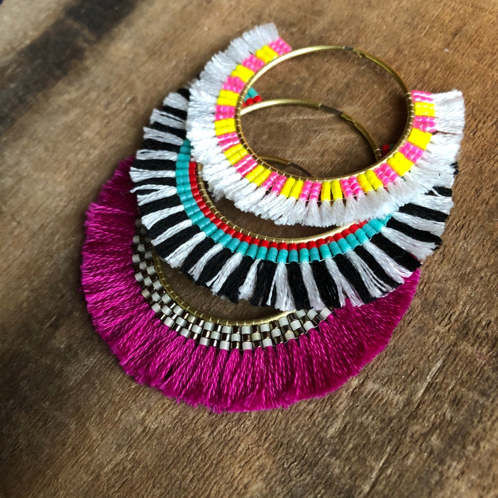 Image of Beads + cotton hoops