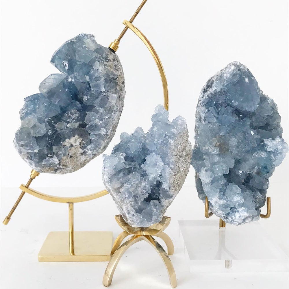 Image of Celestite no.02 + Brass Claw Stand