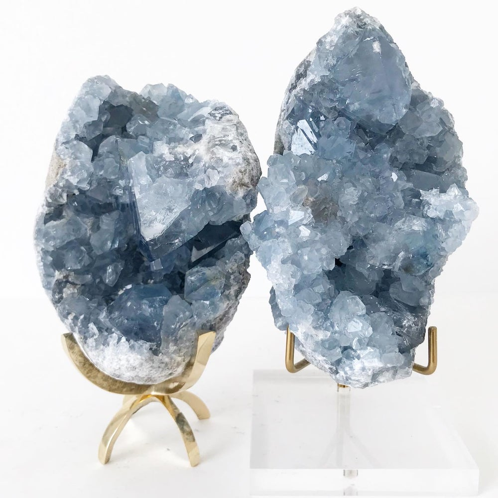 Image of Celestite no.06 + Brass Claw Stand