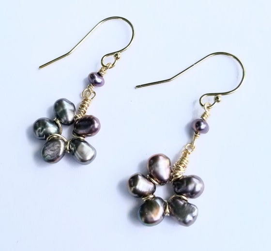Image of 14k Gold-fill Peacock Pearl Flower Earrings
